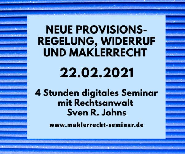 Das neue Maklerrecht 2021 Seminar