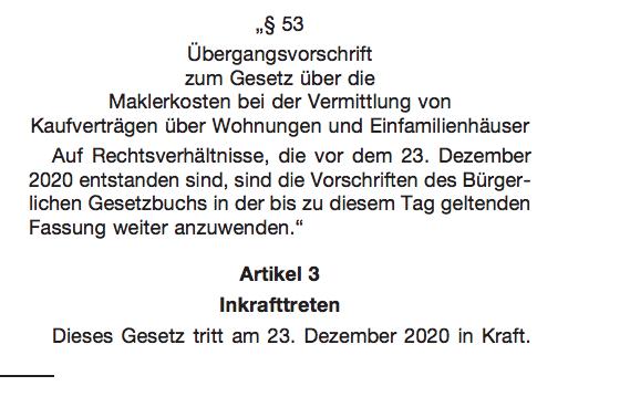 Die Übergangsfrist für das neue Maklerrecht endet am 22.12.2020